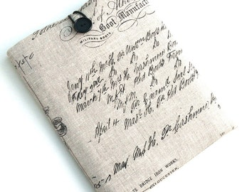 """11inch MacBook Air Sleeve, 11.6"""" Laptop Case, Chromebook Surface Case SUPERIOR Shock Absorbent Foam Padding - Designer Fabric """"FRENCH LINEN"""""""