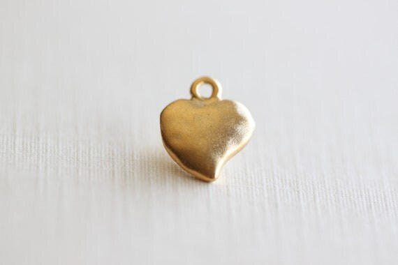 Vermeil Gold Puffy Heart Charms - 10mm, solid sterling silver gold plated lightly hammered heart