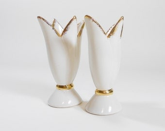 A Pair of White Ceramic Tulip Vases with Gold