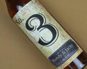 Custom Wedding Wine Label, Personalized wine Label, wedding Wine bottle label, Table number wine label 014