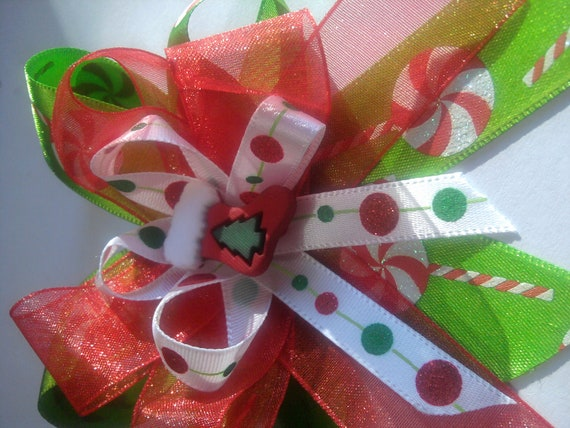 Christmas candy hair clip Red and Green hair clip Christmas stocking hair clip Christmas hair bow  Red and Green hair bow