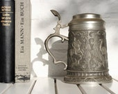 Vintage Pewter Tankard Ornate Design Siegfried The Dragon Slayer