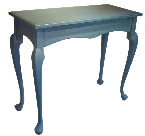 Sky Blue Table, Queen Anne Legs, Hall Sofa Entry Accent , Solid Cherry, Milk Paint