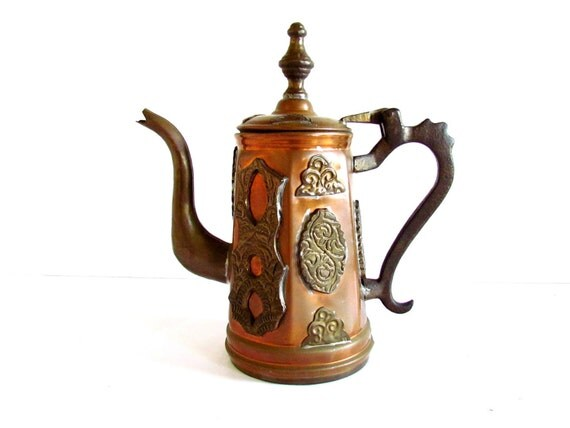 Morrocan Vintage Brass Copper Metal Teapot, Samovar, Kettle, Attached Lid, Hand Crafted