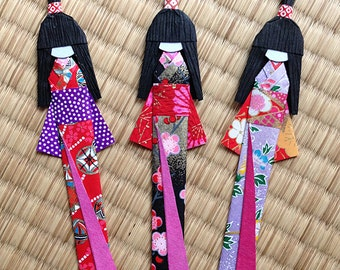 10 Japanese Handmade Origami Paper Doll Bookmarks set (random colors)
