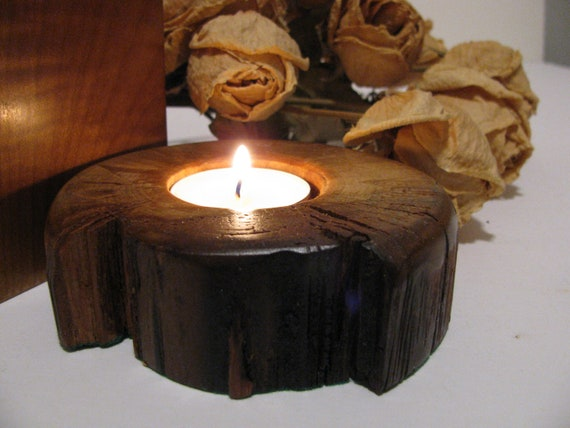 Wood tealight candle holder handmade from aged birch wood