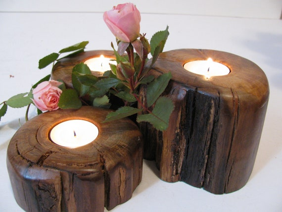 Wood tealight candle holders handmade from aged birch wood