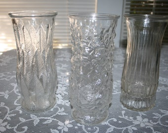 vintage vases, wedding vases,  3 large lovely glass vases, home decor