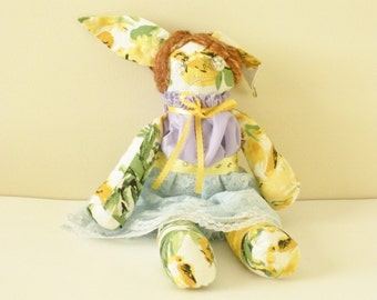 Bunny Doll - Handmade Doll - Spring Trends - Floral Print - Gift For Girls - OOAK