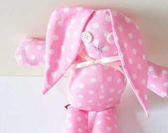 Kawaii Bunny Plush, For Girls, Pink and White Polka Dots
