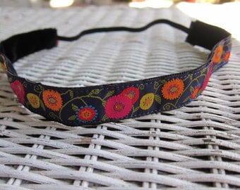 Purple Flower Girls Headband - Womens Adjustable Headband