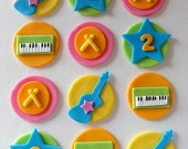 12 Fondant music cupcake toppers,fresh beat,fondant guitar,drum,piano,synthesizer,fondant rock,birthday party,music,instruments,rock star