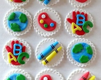 12 Fondant edible cupcake/cookie toppers - Teachers gift / schoo, fondant art party, fondant crayons, little kids art birthday party