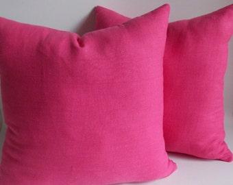 SET OF 2 / Linen Fushia Pillow, Decorative pillow cover,Pillow cower, All Sizes