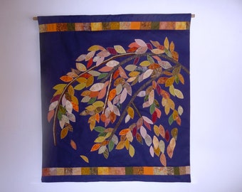 Fall colors art quilt. Wall hanging modern art quilt. A gift for golden wedding, housewarming. Free shipping. Reserved for Dan.