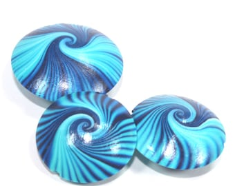 Polymer Clay beads, swirl lentil beads in blue, turquoise and white, unique pattern, elegant beads Set of 3