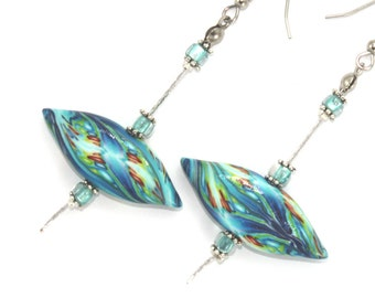 Polymer clay earrings, elegant earrings, leaf shaped beads, handmade earrings in blue, turquoise, green, red and yellow