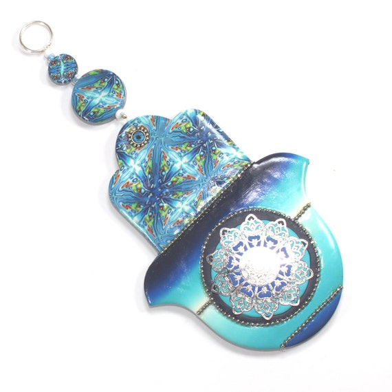 Wall decor Hamsa, Polymer clay Hamsa, Good fortune Hamsa in blue, white, turquoise and green