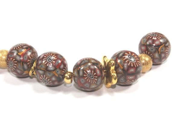 Elegant beads, Polymer Clay beads, spirals and stripes beads in chocolate brown, bronze, gold and white, unique pattern, set of 8 beads