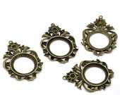 5 - Antique Bronze Cameo Cabachon Frame Setting Pendants 63 x 44mm - Pack of 5 CAB51