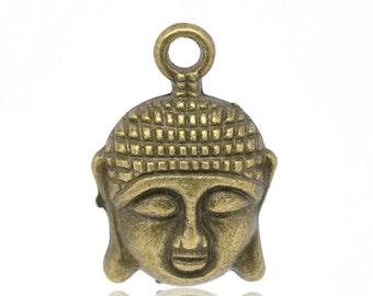 5 Antique Bronze Buddha Head Charm Pendant 22 x 15mm - Pack of 5 Cp09