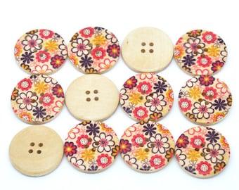 5 Floral (Design 6) Painted Wood Button Four Hole Natural Wood Colour 30mm - 5 Pack NPB24