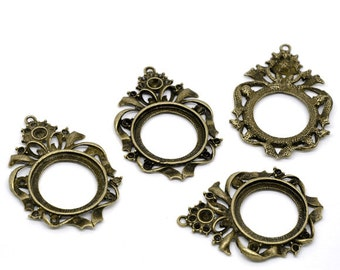 Antique Bronze Round Cameo Cabachon Frame Pendant Settings for Arts Crafts Jewelry Necklaces Earrings Embellishment Pack of 5 63 x 44mm