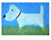 Westie in field - Taking the Air - Brightly coloured professional Giclee print