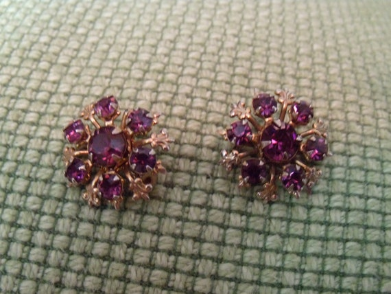 Pair of Amethyst Rhinestone Pins - 1940's Vintage - Lovely Design and Pretty Stones - Classic Jewelry