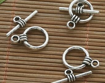 50sets dark silver tone toggle clasp h3511