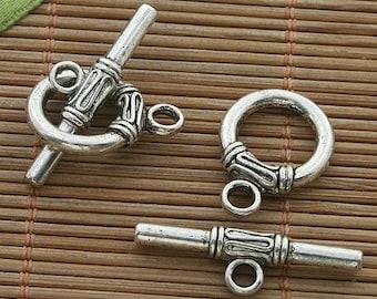 15sets dark silver tone toggle clasp h3523