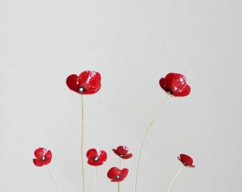 Five poppy  metal sculptures, red poppies brass sculptures on thin brass stems, made to order