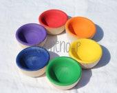 Wooden Rainbow Sorting Bowls-Montessori inspired