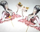 Set of 4 Marie Antoinette Cupcake Toppers in Pink