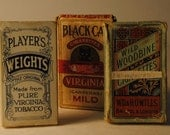 black cat cigarette, woodbine and players weights cigarette packs collection of three TOBACCIANA