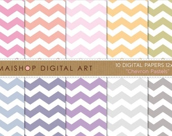 Digital Paper 'Chevron Pastels' Soft Pink, Orange, Green, Blue, Purple, Gray Colors Chevron Pattern Digi Scrapbook Papers