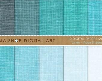Digital Paper Linen 'Aqua Shades' Light Blue, Turquoise - Digital Scrapbooking, Card Making, Backgrounds...