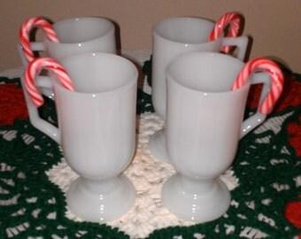 "Set of 4 milk glass ""Irish"" coffee mugs"