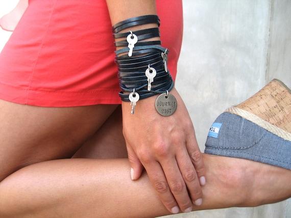 Sliced Leather Bracelet in Navy Blue - Key Jewelry - Charm Bracelet - Leather Cuff - Multi Strap Bracelet