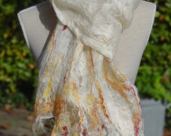 Scarf, handfelted mohair, white with silk fibres in autumn colours, handmade cobweb felt. Christmas gift idea.