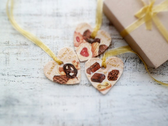 Set of 3 chocolate heart Christmas ornaments sweet home Christmas decor rustic shabby chic kitchen decor cake brown ivory red yellow gold