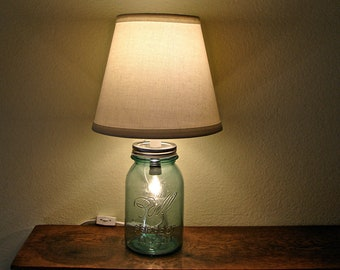 Vintage Blue Mason Jar Table Lamp - Two Bulbs - Works As Nightlight or Lamp