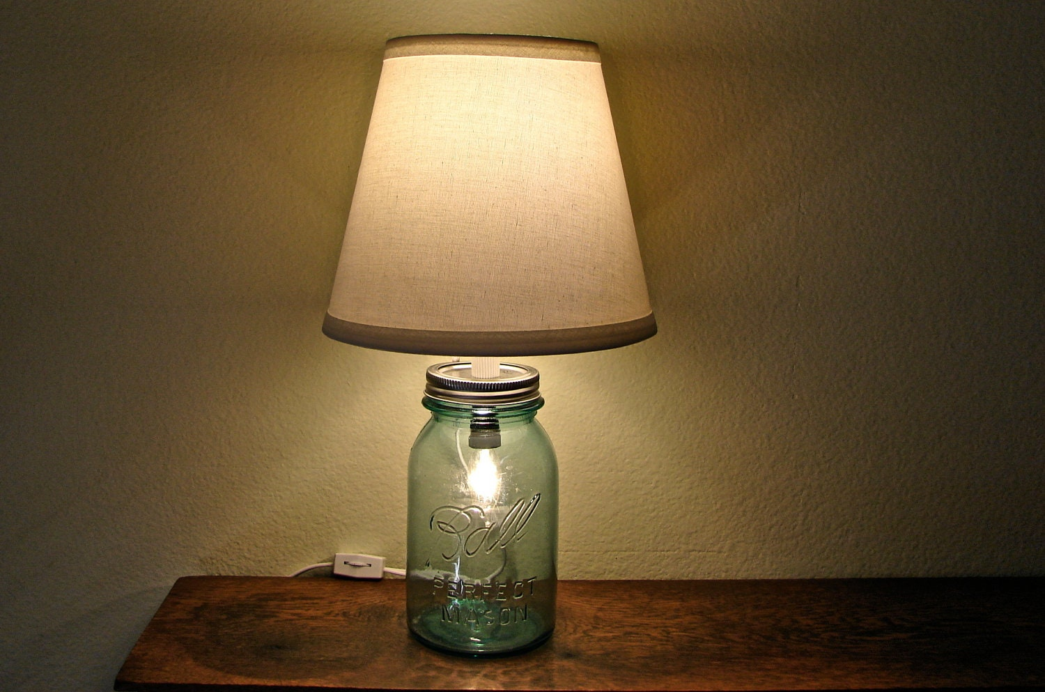 Antique bedside table lamps - Discount Vintage Blue Mason Jar Table Lamp No Shade Two Bulbs Works As Nightlight Or Lamp