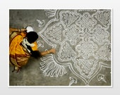 Photograph of Indian woman in Yellow sari decorating. Yellow wall art, ethnic art, India wall art. - themonsoontree