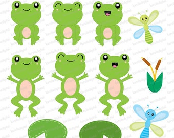 Clip Art Cute Frog Clipart cute frog clip art etsy frogs digital paper set personal and commercial use