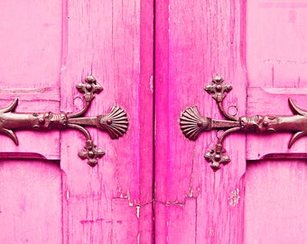 Pink Paris Door Photo, Neon, Fluo, Art Photo Print, Old, Worn, Rustic, Bright, Hardware, French, Cracked, Distressed Wood, Paris Gift