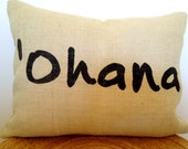 "Free Shipping- Ohana Pillow Cover 12"" x 24"""