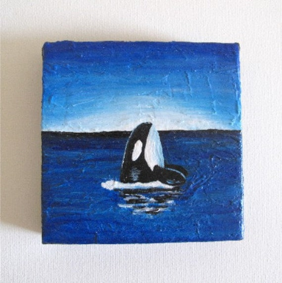 Items similar to curious orca mini canvas original for Small easy paintings