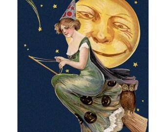 Halloween Cotton Fabric Block - Witch on Broom Full Moon