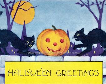 Halloween Fabric Block - Black Cats and Jack O Lantern under Full Moon